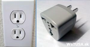 Elektrická zásuvka v USA a adaptér EURO - US